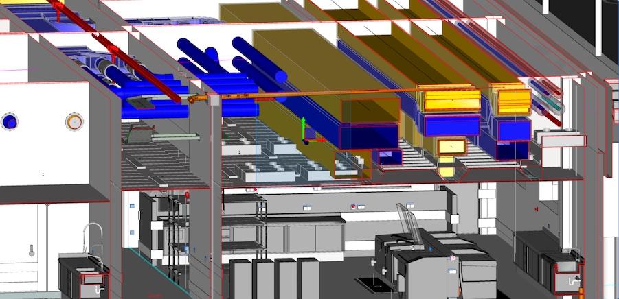 BIM Planung von gewerblichen Küchen Lüftungsanlagen