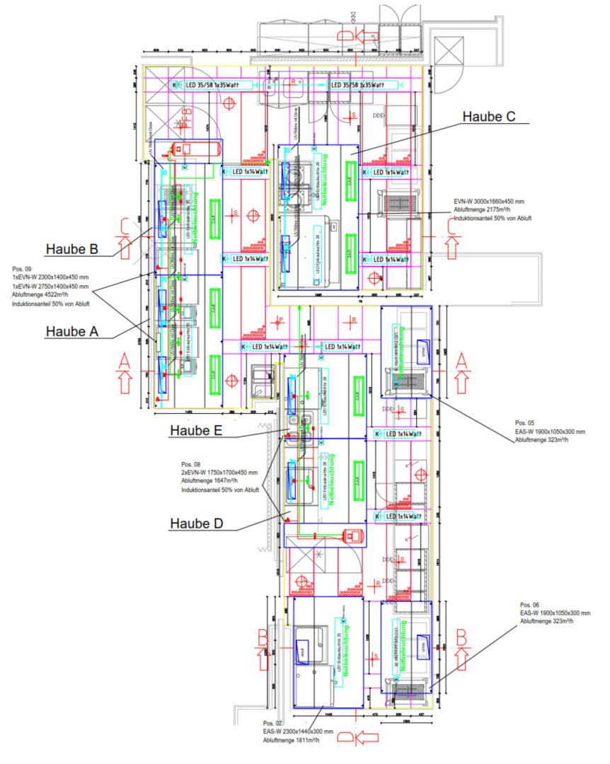 Grundriss Hybrid-Abluftdecke mit vielen Kochgeräten auf kleinem Raum bei wenig Raumhöhe