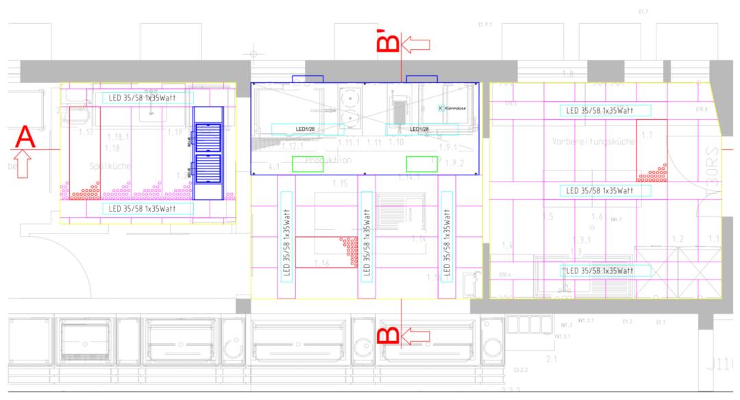 Grundriss Hybrid-Decke mit neuer Effizienz-Induktionshaube und Druckdecke