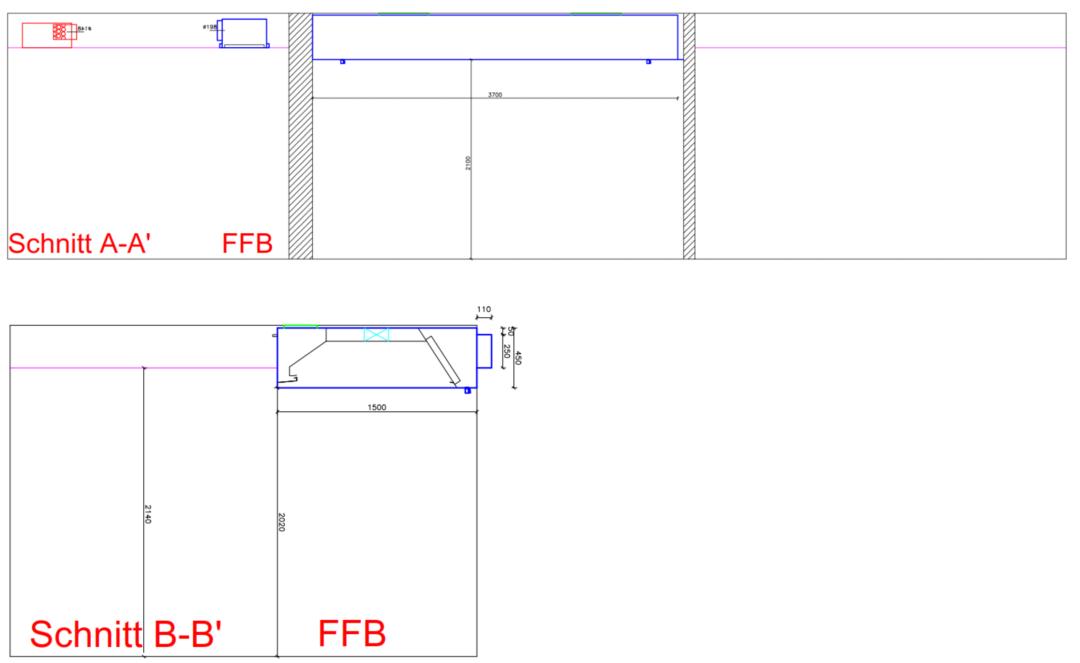Schnitte Hybrid-Induktionsdecke mit Druckdecke und Effizienzhaube