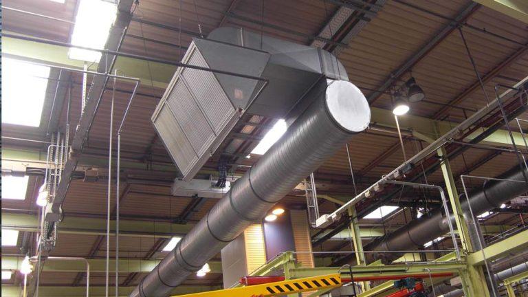 Aerosol separator for industrial hall