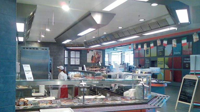 ventilated ceiling over butcher's counter
