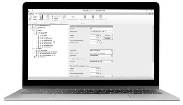 RECOMAX calculation software for commercial kitchens