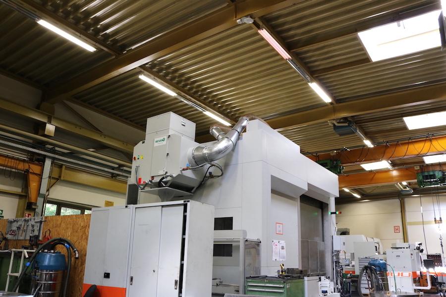 REVEN Ölnebelabscheider auf Grossmaschinen mit Luftwäscher zur kombinierten Fräs- und Drehbearbeitung