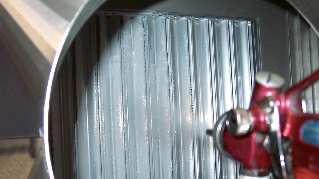 Abscheidung von Aerosolen mit UV-Lack Partikel